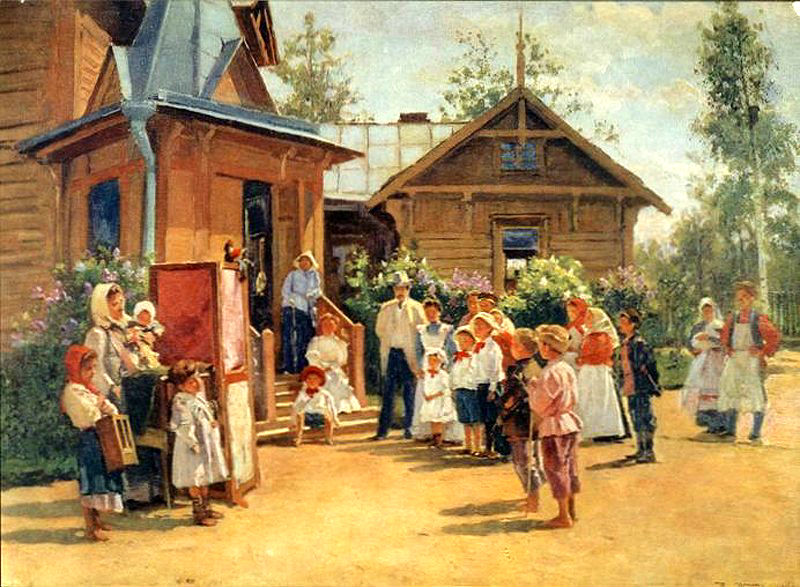 В. Маковский. «Кукольное представление на дачах»